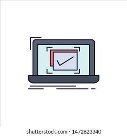 system, monitoring, checklist, Good, OK Flat Color Icon Vector