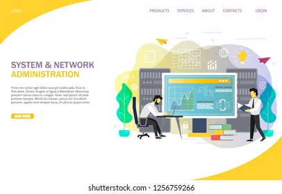 System and network administration landing page website template. Vector illustration of IT professionals, engineers. Server maintenance, network management, computer systems administration.