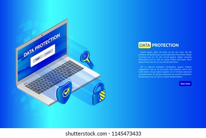 System privacy. 3D Cyber security technology concept. Abstract isometric laptop and protection icons, shield, padlock and key.
