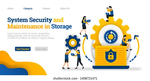 System Security and Maintenance in Storage. system security in maintaining data. Vector flat illustration concept, can use for, landing page, template, ui, web, homepage, poster, banner, flyer