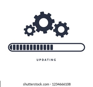 System software update or upgrade. Application loading process symbol web screen. Vector computer technology.