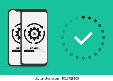 System software update and upgrade concept. Loading process in smart phone screen