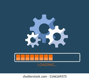 System software update and upgrade concept. Loading process screen. The image of the process of operation of gears. Vector illustration EPS10