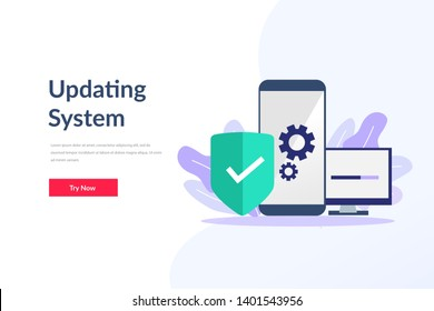 System software update and upgrade concept. Update process. Install new software, operating system