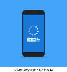 System software update and upgrade concept. Loading process in smart phone screen. Vector illustration.