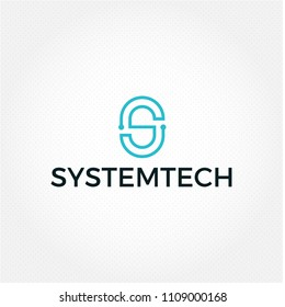 System tech vector web logo. Minimal connect business logo