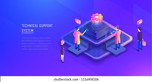 System of technical support. People interacting with the technical support center. Modern vector illustration isometric style.