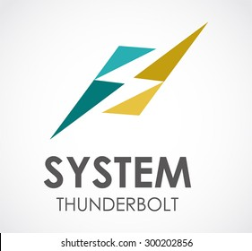 System thunderbolt electricity abstract vector logo design template electronic business company icon for corporate identity symbol concept