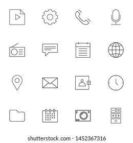 system ui thin line icons set. Thin line simple outline icons for web and mobiles