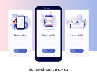 System update concept. Screen template for mobile smart phone. Modern flat cartoon style. Vector illustration