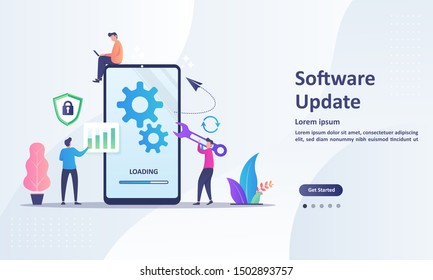 System Update Improvement Change New Version. Installing update process with people characters Suitable for web landing page, ui, mobile app, banner template. Vector Illustration