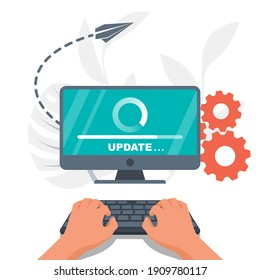System update. The programmer behind the computer screen. Hands on the keyboard. New Version software. Installing update process. Template landing page. Data transfer. Vector illustration flat design