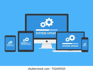 System update set. IT administrators installing updates for software, drivers, operating system. Vector flat style cartoon illustration isolated on blue background