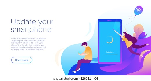 System update or software installation concept in flat vector design. Creative illustration for smartphone upgrade or maintenance. Website landing page layout or webpage template.