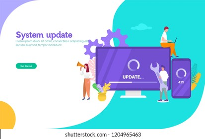 system update vector illustration concept, people update operation system can use for, landing page, template, ui, web, mobile app, poster, banner, flyer