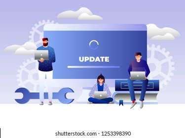 system update vector illustration concept, website under construction, people update operation system can use for, landing page, template, ui, web, mobile app, poster, banner, flyer. Characters design