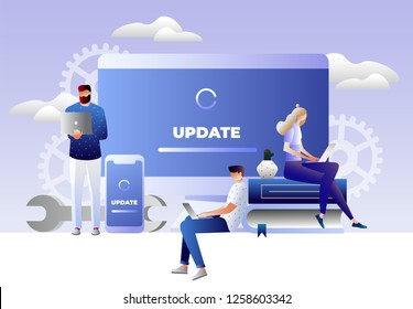 System update vector illustration concept, people update operation system can use for, landing page, template, ui, web, mobile app, poster, banner, flyer. Characters design