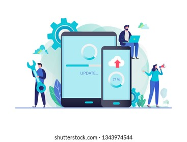 System updates with people updating operation in computing and installation programs. Mobile application. Flat vector illustration modern character design. For a landing page, banner, flyer, web page.