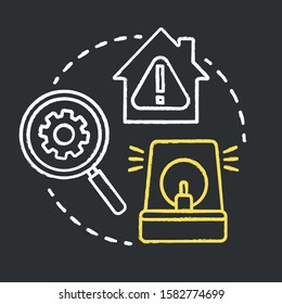 System vulnerabilities chalk concept icon. Smart house flaws idea. Negative effects of innovative technology for apartments. Difficulties in use. Vector isolated chalkboard illustration