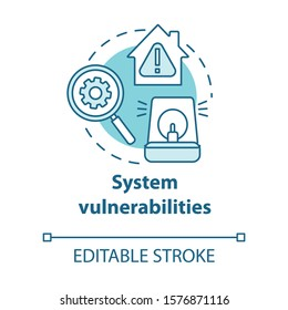 System vulnerabilities turquoise concept icon. Smart house flaws idea thin line illustration. Negative effects of innovative technology for apartments. Vector isolated outline drawing. Editable stroke
