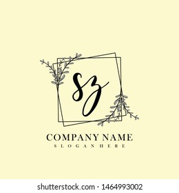 SZ Initial beauty floral logo template