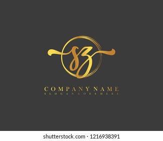 SZ initial handwriting logo circle template vector