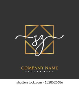 SZ Initial Handwriting logo template vector