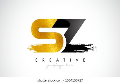 SZ Letter Design with Black Golden Brush Stroke and Modern Look Vector Illustration.