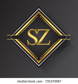 SZ Letter logo in a square shape gold and silver colored geometric ornaments. Vector design template elements for your business or company identity.
