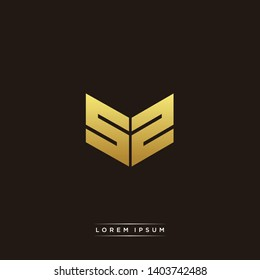 SZ Logo Letter Initial Logo Designs Templete with Gold and Black Background