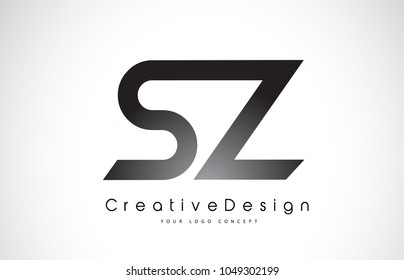 SZ S Z Letter Logo Design in Black Colors. Creative Modern Letters Vector Icon Logo Illustration.