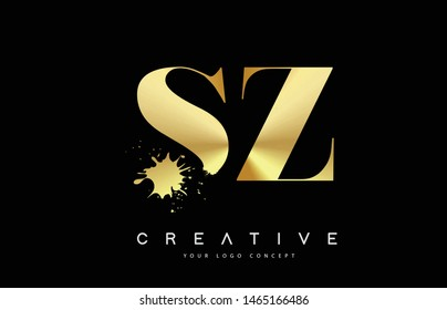 SZ S Z Letter Logo with Gold Melted Metal Splash Vector Design Illustration.