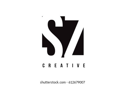 SZ S Z White Letter Logo Design with Black Square Vector Illustration Template.