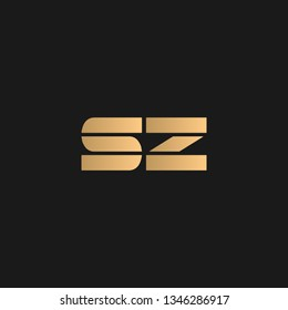 SZ or ZS logo vector. Initial letter logo, golden text on black background