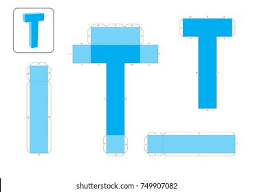 T Alphabet paper model template, cut out and glue with numbers marked into a 3d model.