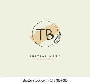 T B TB Beauty vector initial logo, handwriting logo of initial wedding, fashion, jewerly, heraldic, boutique, floral and botanical with creative template for any company or business.