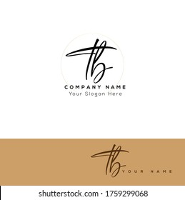 T B TB Initial letter handwriting and signature logo.