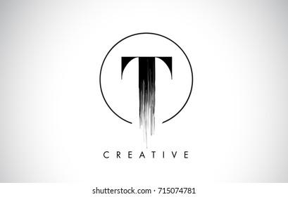 T Brush Stroke Letter Logo Design. Black Paint Logo Leters Icon with Elegant Circle Vector Design.