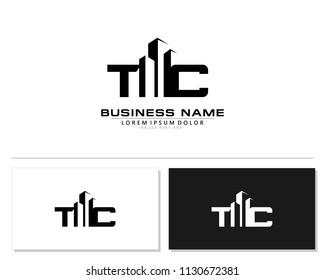 T C Initial building logo concept