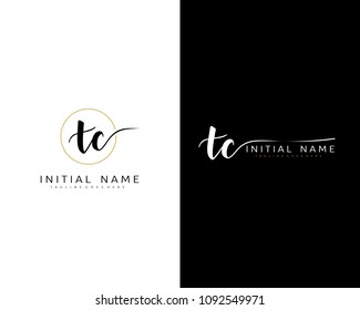 T C Initial handwriting logo vector. Hand lettering for designs.