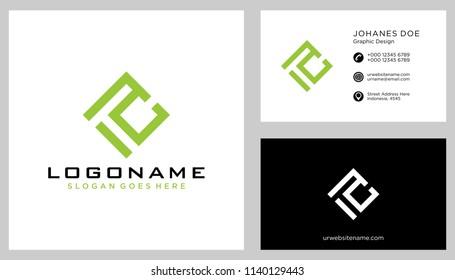 T C initial logo template vector