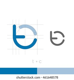 T, C monogram. Modern style. Vector illustration.