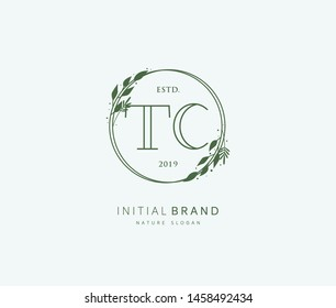 T C TC Beauty vector initial logo, handwriting logo of initial signature, wedding, fashion, jewerly, boutique, floral and botanical with creative template for any company or business.