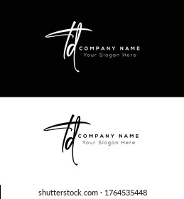 T D TD Initial letter handwriting and signature logo.