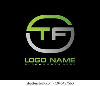 T F Initial circle logo template vector