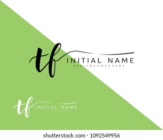 T F Initial handwriting logo vector. Hand lettering for designs.