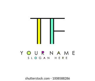 T & F initial minimalist logo template vector