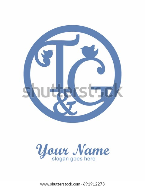 T G Initial Wedding Decorative Logo Stock Vector (Royalty Free