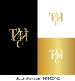 T & H / TH logo initial vector mark. Initial letter T and H TH logo luxury vector logo template.