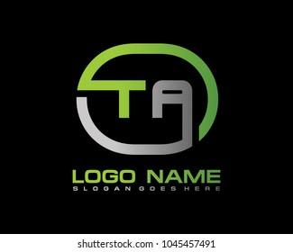 T A Initial circle logo template vector